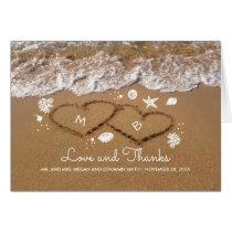 Sand Hearts Beach Waves Summer Wedding Thank You