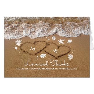 Sand Hearts Beach Waves Summer Wedding Thank You Card