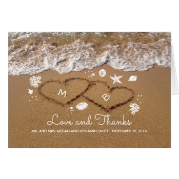 Beach Themed Sand Hearts Beach Waves Summer Wedding Thank You Card