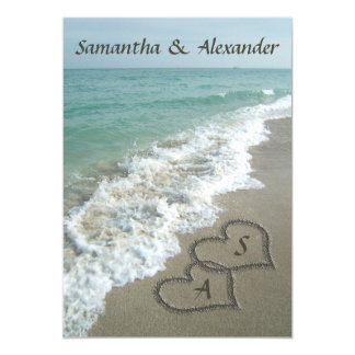 Sand Hearts Initials, Beach Destination Wedding Card