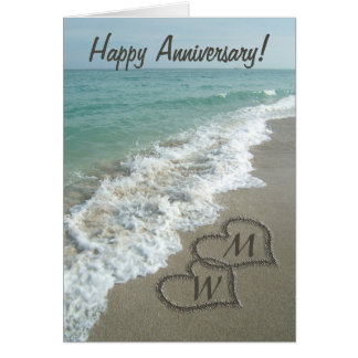 Sand Hearts on Beach Personalized Anniversary Greeting Cards