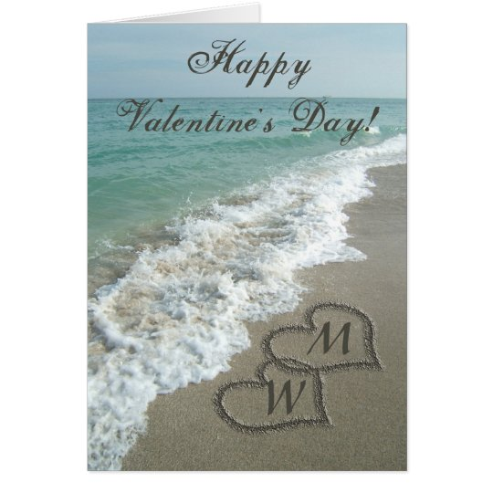 Sand Hearts on Beach Personalized Valentine Card