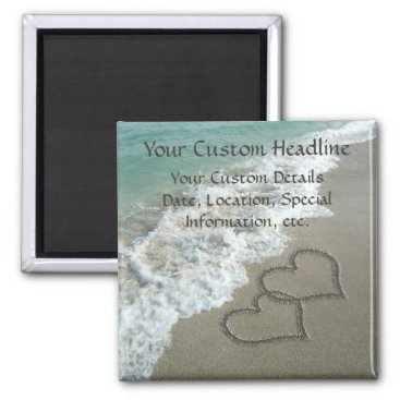 cutencomfy Sand Hearts on Beach, Romantic Save the Date Magnet