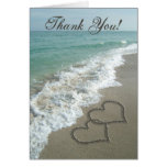 Sand Hearts on Beach Thank You Note Stationery Note Card