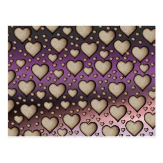 Sand Hearts on purple Background Post Card