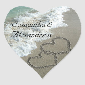 Sand Hearts on the Beach Envelope Seal Sticker