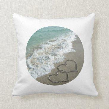 Sand Hearts on the Beach Throw Pillow