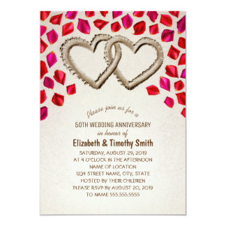 Sand Hearts Rose Petal Beach Wedding Anniversary Card