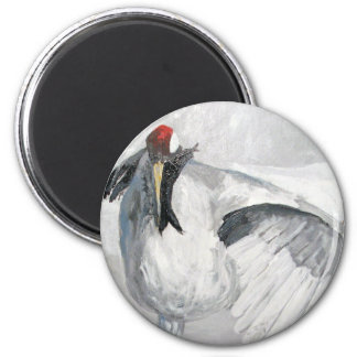 """""""Sand Hill Crane Cleaning"""" Round Magnet"""