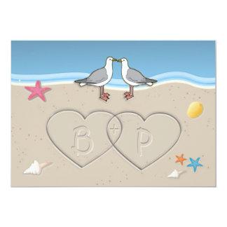 Sand Initials Beach Themed Wedding Invitations