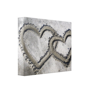 Sand Love Hearts Wrapped Canvas
