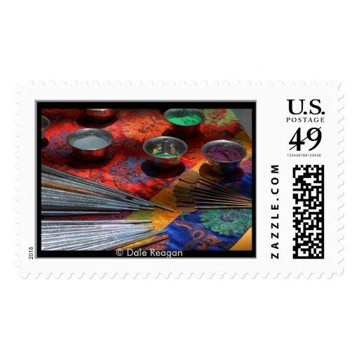 Sand Mandala - tools. Postage Stamp