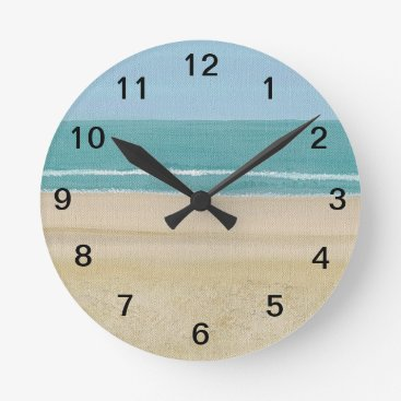 Beach Themed Sand Ocean Sky Waves Beach Wall Clock