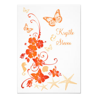 Sand, Orange, White Tropical Beach Post Wedding 2 Card