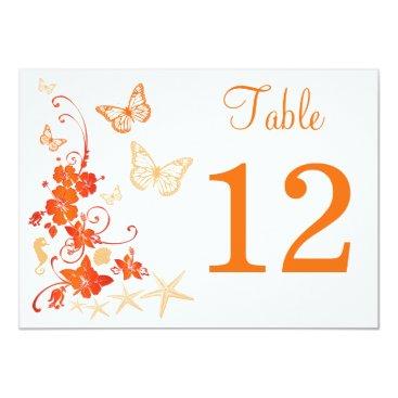 Beach Themed Sand, Orange, White Tropical Beach Table Number