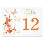 Sand, Orange, White Tropical Beach Table Number Card