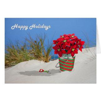 Sand Pail Pointsettia Plant Card