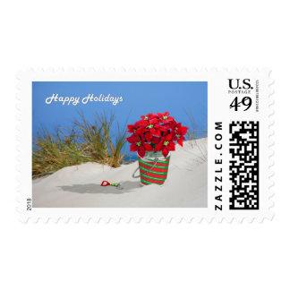 Sand Pail Pointsettia Plant Postage Stamps