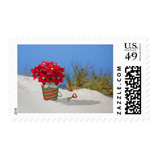 Sand Pail Pointsettia Plant Stamp