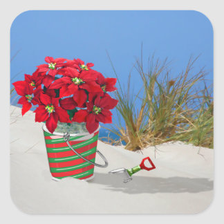 Sand Pail Pointsettia Plant Sticker