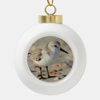 Sand Piper and Seashells Ceramic Ball Christmas Ornament