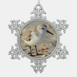 Sand Piper and Seashells Snowflake Pewter Christmas Ornament