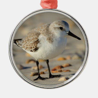 Sand Piper and Seashells Round Metal Christmas Ornament
