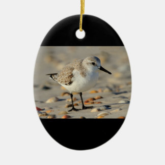 Sand Piper and Seashells Double-Sided Oval Ceramic Christmas Ornament