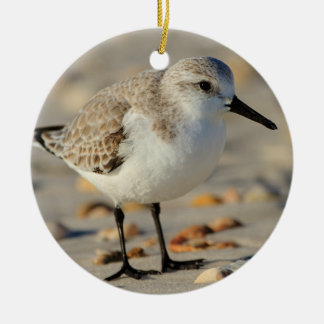 Sand Piper and Seashells Double-Sided Ceramic Round Christmas Ornament