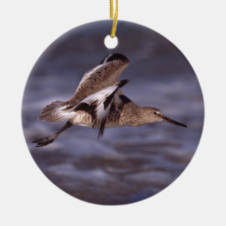 sand piper in flight Double-Sided ceramic round christmas ornament