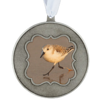 sand piper scalloped pewter christmas ornament