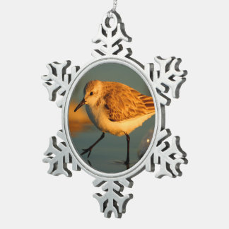 sand piper snowflake pewter christmas ornament