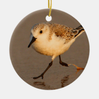 sand piper running on beach Double-Sided ceramic round christmas ornament