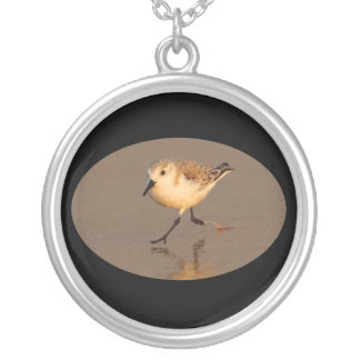 Sand Piper Running on Beach Silver Plated Necklace