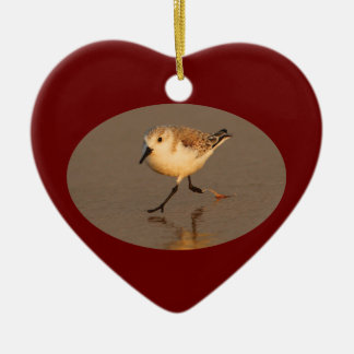 sand piper running Double-Sided heart ceramic christmas ornament