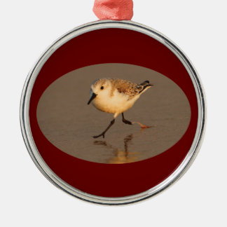 sand piper running round metal christmas ornament