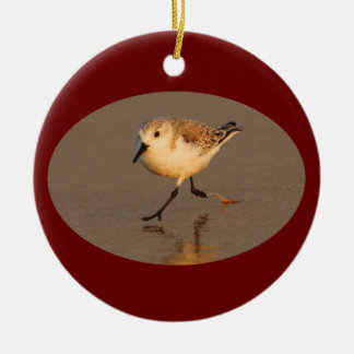 sand piper running Double-Sided ceramic round christmas ornament