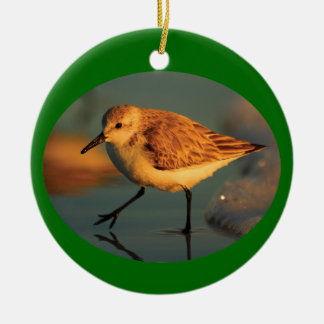 sand piper sunset Double-Sided ceramic round christmas ornament