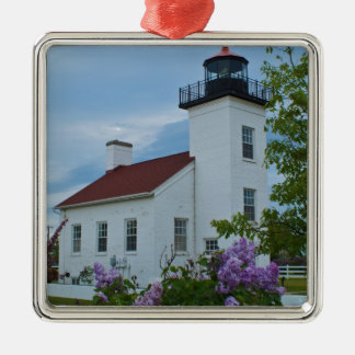 Sand Point Lighthouse Square Metal Christmas Ornament
