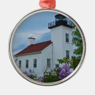 Sand Point Lighthouse Round Metal Christmas Ornament