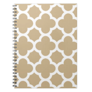 Sand Quatrefoil Trellis Pattern Notepad Spiral Notebooks