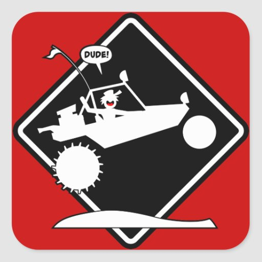 Sand rail air caution placard square sticker zazzle - Stickers placard coulissant ...