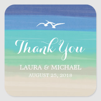 Sand, Sea and Seagulls | Thank You Square Sticker