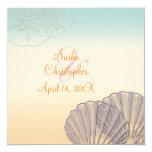 Sand+Sea/purple+orange/ Wedding Invitations