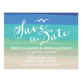 Sand, Sea & Seagulls | Painted Ocean Save the Date Postcard