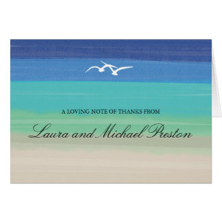 Sand Sea Seagulls Painted Ocean Thank You Greeting Cards