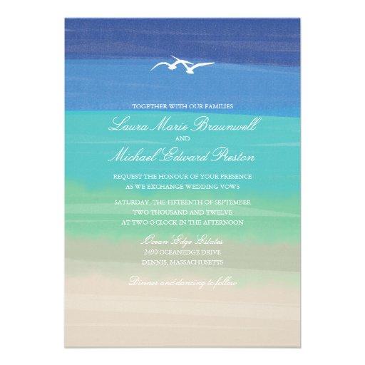 Sand, Sea & Seagulls | Painted Ocean Wedding Custom Invites