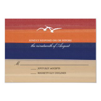 Sand, Sea & Seagulls | Painted Ocean Wedding RSVP Card