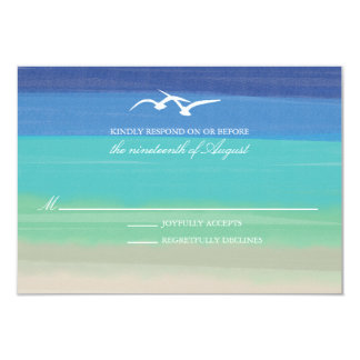 Sand, Sea & Seagulls   Painted Ocean Wedding RSVP Personalized Announcement