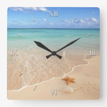 Beach Themed Sand & Sea Square Wall Clock